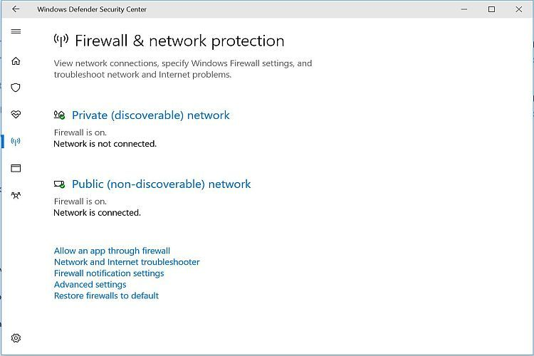 Windows Defender Firewall Enabled