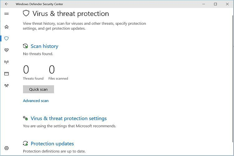 Windows Defender Virus Scan Enabled